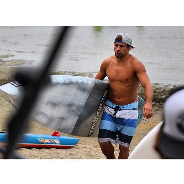 UFC champ @urijahfaber giving our 14' race board a whirl in Tahoe. He's a natural! #roguesup #racethelake #ufc