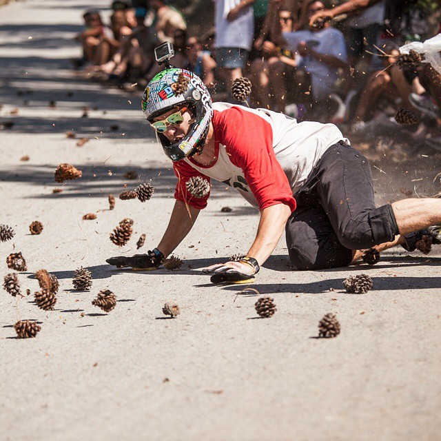 #viciousrider @r1leyh4rris is a common target of the signature @giantsheadfreeride pinecone blast at dead mans corner. People went as hard as ever and brought the pinecone game to a new level. Photo: @herzzii