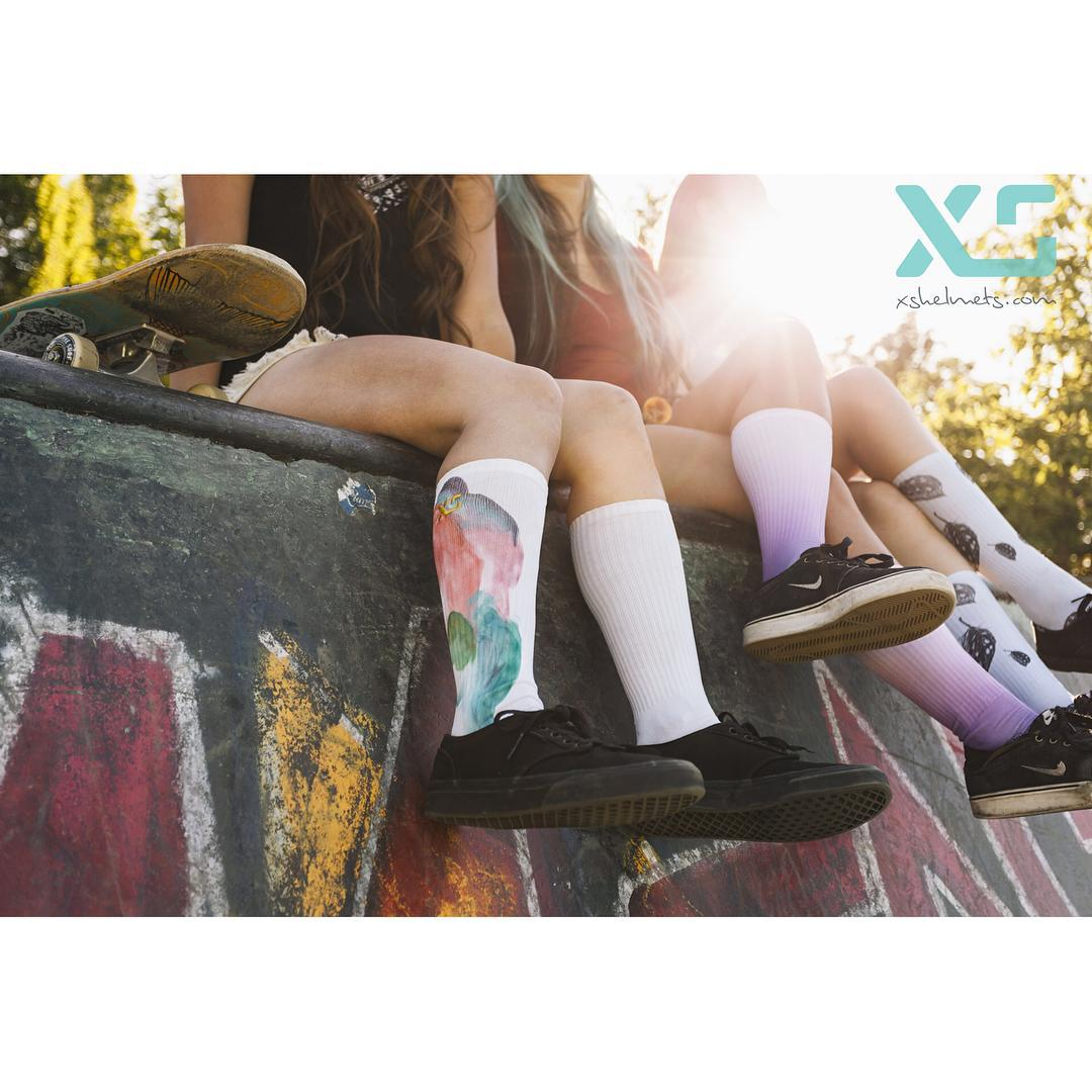 Just hanging. We are ready to launch our  new XS women's sock line @agendashow July 8-9th in Long Beach! Join us at the show at Booth D26! #agendashow #agendawmns #xshelmets #XSsocks #girlswhoshred @agendawmns