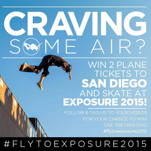 Want to WIN A TRIP TO SAN DIEGO and skate at EXPOSURE 2015? Tag and follow us @exposureskate to YOUR VIDEOS and you'll have a chance to WIN 2 plane tickets to San Diego! Check out our @transworldskate session in our bio link! Fly high.