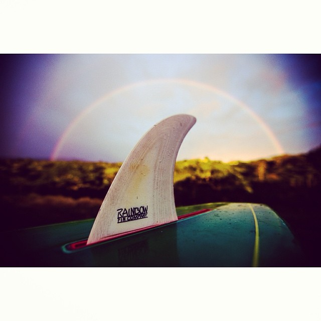 Rain storms, double rainbows, and a single fin sessh.  #toogoodtobetrue #doublerainbow #luckywelivehawaii