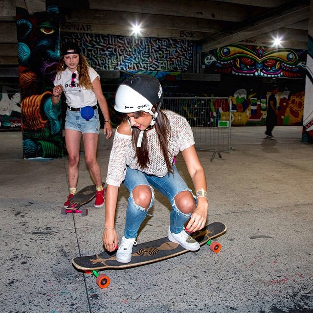 Our dude @lotfiwoodwalker threw a #DockSession skate jam / release party for @ultimateears new speaker last week, and guess who showed up? Miss France 2010 @malikamenard14 and she was hyped to shred on some #paristrucks! #paristruckco