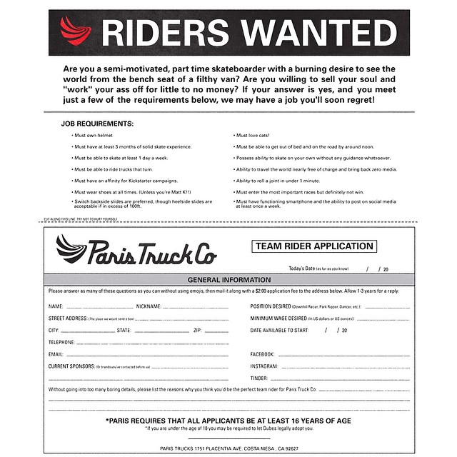Check out our latest full-page ad as seen in the newest issue of @concretewavemag: RIDERS WANTED! If you've always wanted to skate for #paristruckco, grab a copy of the mag, fill out the application, and send it in along with the $2 application fee!...