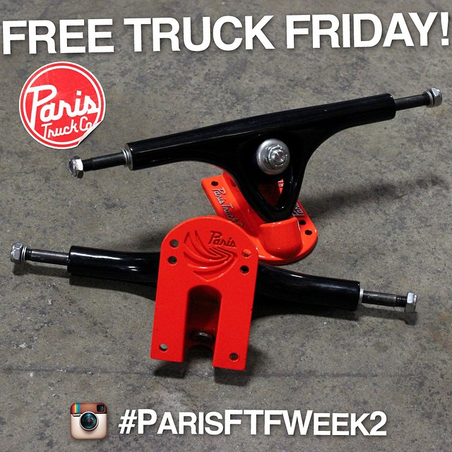 Time for another FREE TRUCK FRIDAY! Last week's winner was @drew_lev - Drew scored a brand new set of #paristrucks for his video clip. We've got another set up for grabs and another challenge for y'all to complete!  This week we're giving away these...