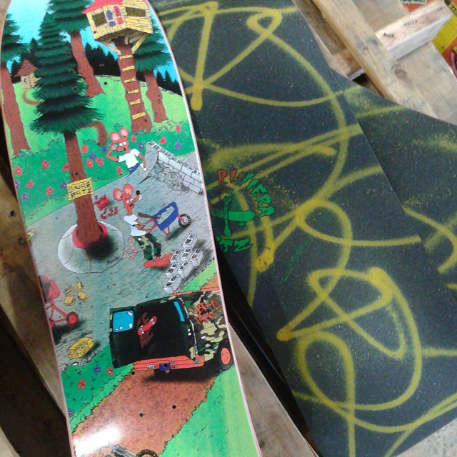 @gnarlivin dropped off a couple more sheets of custom painted grip to go on any gnarats deck purchased online. If you missed out the first time, now's your chance!!! @skateriviera #gnarats