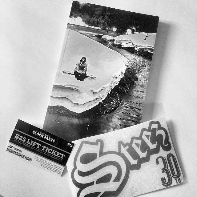 Sneak peek. Every copy of issue 30 comes with a special edition steez die cut and a $25 lift voucher for @crotched_mountain block party. #steezmagazine #silverandlight #issue30