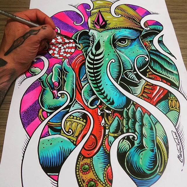 Ganesh por Martín Varbaro @mvarbaro #FeaturedArtist #Artist #VolcomArt #TrueToThis