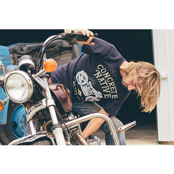 Product Feature: Easy Rider Tee - Hit the road in this organic cotton tee. Vintage style hand printing on the front harkens back to the days of Triumphs and Indians. Be free and live a life on the road. #concretenative #organic #tee #hittheroad...