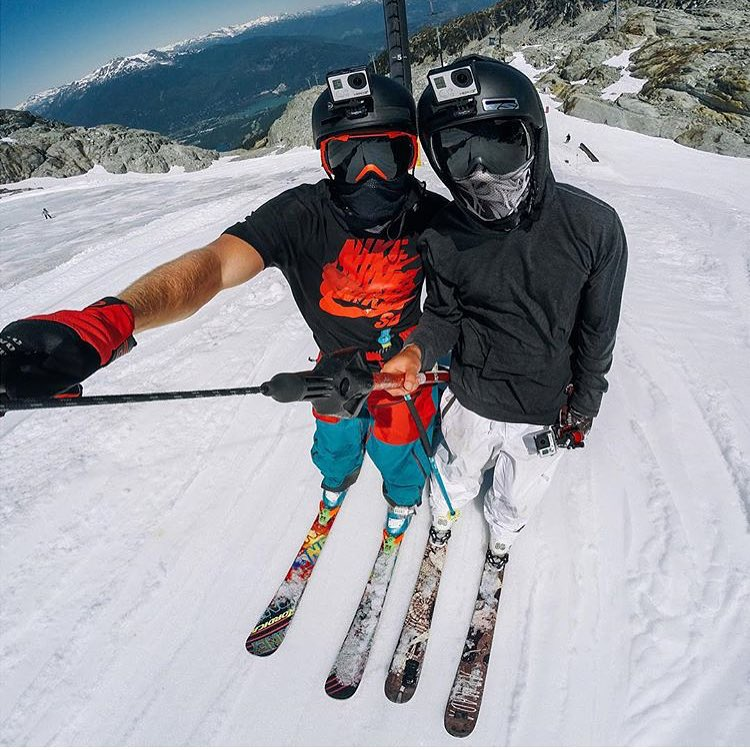 Badass skiers and #GoPro wizards @abekislevitz  and @chrisfarro lap the Tbar at @campofchampions rocking our super breathable Mesh Tshields. How's your summer shred going? #avalon7 #liveactivated #skiing #av7renegade www.avalon7.co