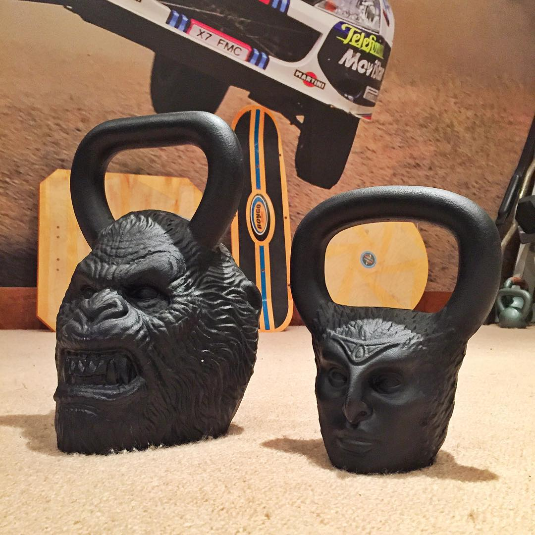 Got these two new 'faces' to throw around at my home gym, courtesy of my friends at @Onnit. That's Bigfoot (90lbs) on the left, and Harpy (27lbs) on the right. #weightswithattitude #legendbells #primalbells #AWSM