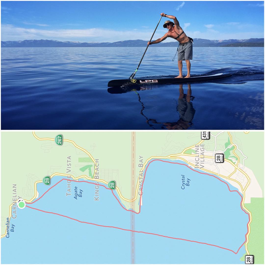 It was a great of training in my outrigger canoe w/ @lakeshoresup athlete & long-time friend, #AdamFreeman on a 21.2 mile #LakeTahoe hot lap!!! @tahoewaterman | #HighFivesAthlete | #ChoosePositivityNow.com