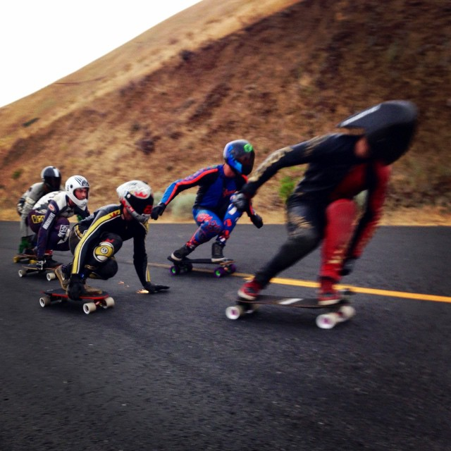 Jimmy Riha hunting a line between Zak and Pat at Maryhill. Thanks to @sk8withbudro and @downhilldivision for the snap. #timeshipracing #sector9 #downhilldivision #radtrain