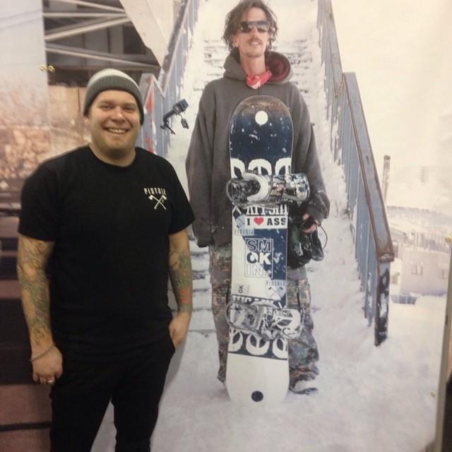 Life size @laneknaack - @pistoleboardshop And Pistol Boardshop founder/Smokin rep Josh Yandell  SIA Denver  #smOKin #forridersbyriders #handmadelaketahoe