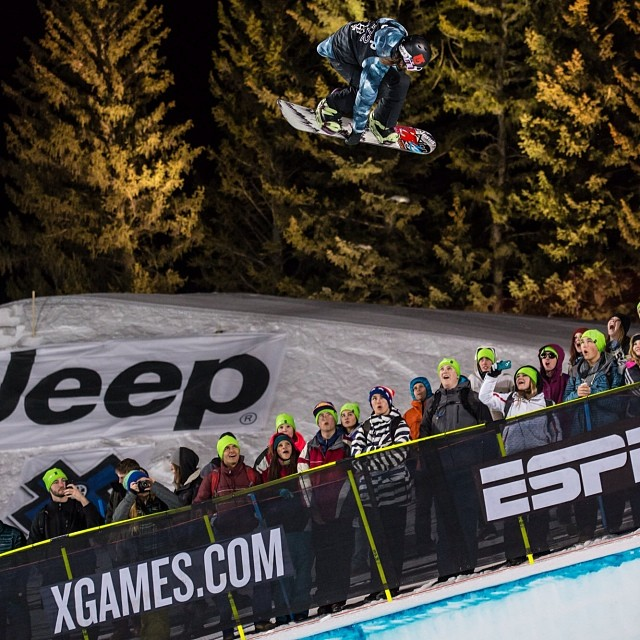 @kellyclarkfdn soaring high above the crowd on her way to GOLD. #xgames (Photo @christianpondella )