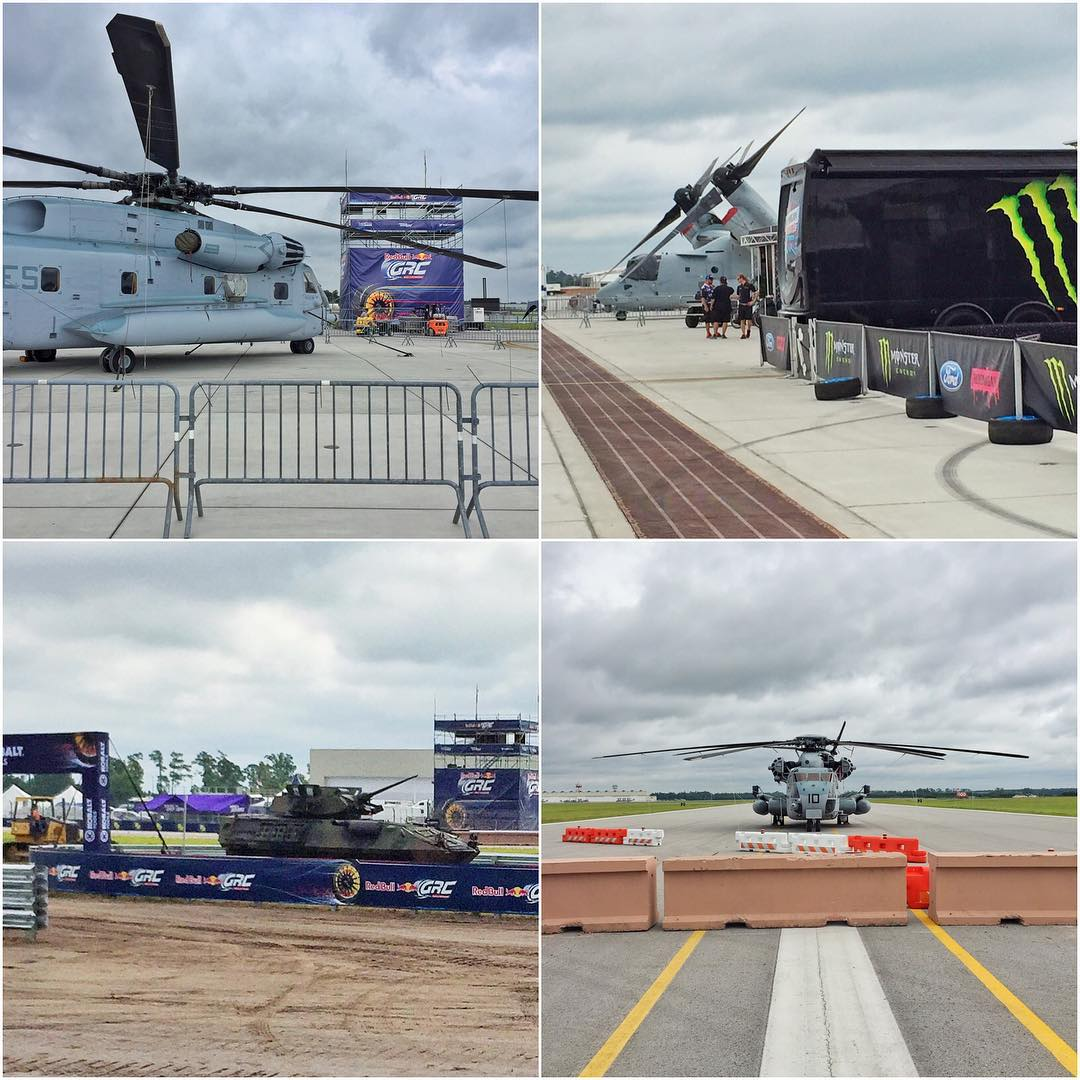 Check out some of the heavy equipment the Marines brought out for us here on the #GlobalRallycross race course and paddock area. Just a few of the things here: CH-53E Super Stallion, MV-22B Osprey, an LAV-25, and more. Pretty awesome racing/hanging out...