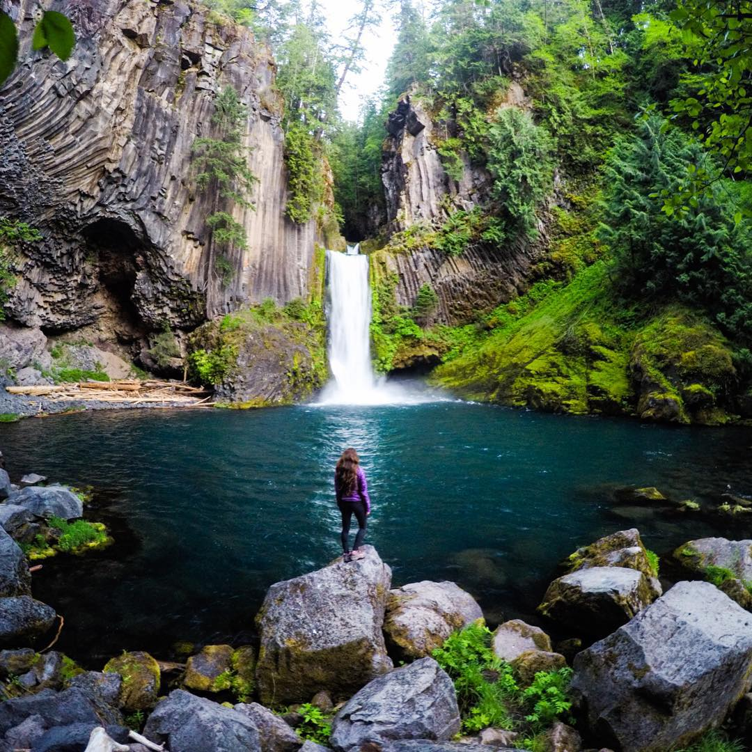 GoPro Featured Photographer - @travisburkephotography  About the shot: We ventured down to the base of Toketee Falls, Oregon late in the evening. The soft light perfectly illuminated the surrounding landscape while the 85 foot falls reflected off the...
