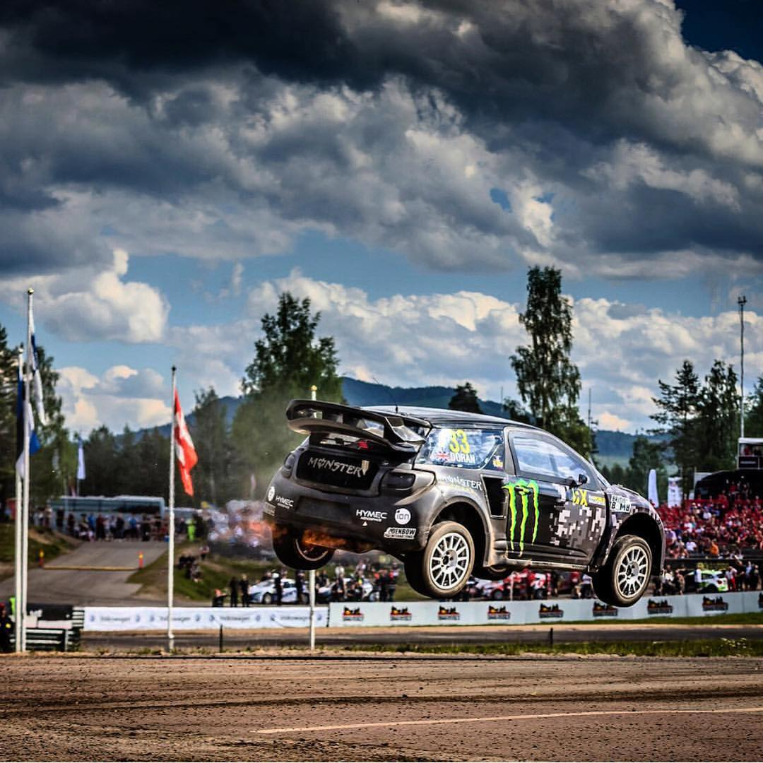Sending it hard over the famous Holjes @fiaworldrx here in Sweden #bigair #whitemencanjump #britishbomb #thrust #jetpower #antilag #holjes #sweden