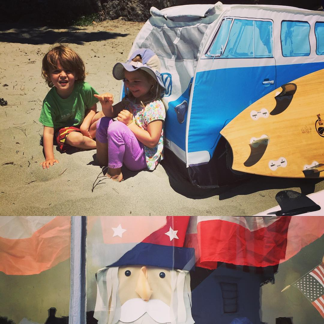 Chilling by the VW bus at Big River while waiting for the tide to switch; and practicing their shakas... The next Gen of #DeepBlueSurfers is alive and well ! --- The July 4th parade in Mendocino Township was also very alive and well, and now we're just...