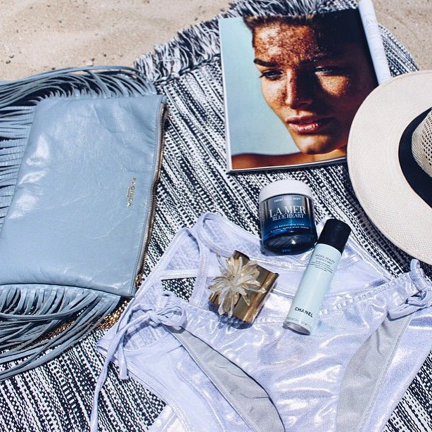 Summer is... the perfect beach spread || lazy day inspiration with @styledrifter featuring our Double String Bottom & Premio Tank Rashguard in Silver || #getoutthere #beachready #beachstyle
