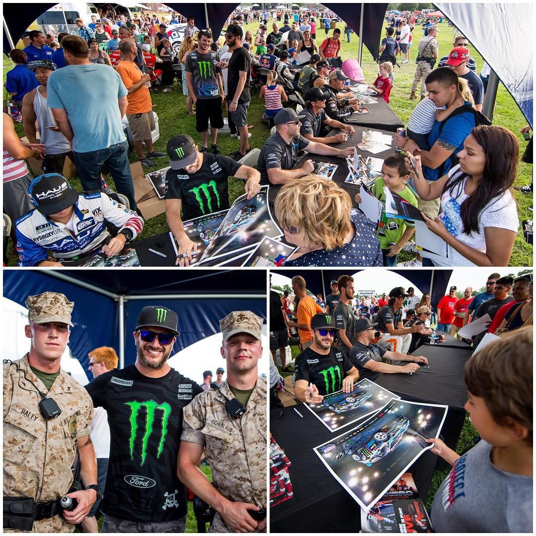 There was a big concert/fireworks show on the Marine base here in North Carolina yesterday (Camp Lejeune) to celebrate the 4th of July holiday, so all of us #GlobalRallycross drivers took part in the festivities - signing autographs and meeting a bunch...