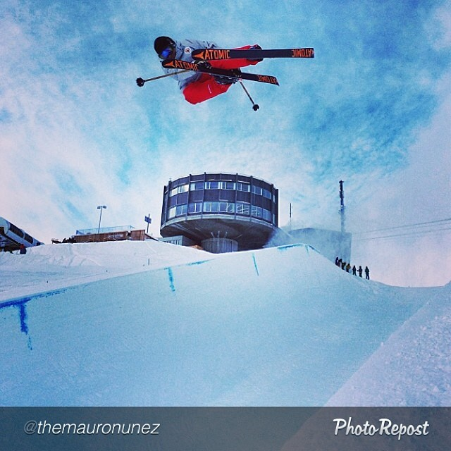 Displaying near perfect pole symmetry for his pupils, Russian Olympic half pipe coach and Panda Tribe member Mauro Nunez boosts a double grab in Laax, Switzerland last week.  @themauronunez  #pandapoles #magicskiwands #pandatribe #spaceshiptosochi