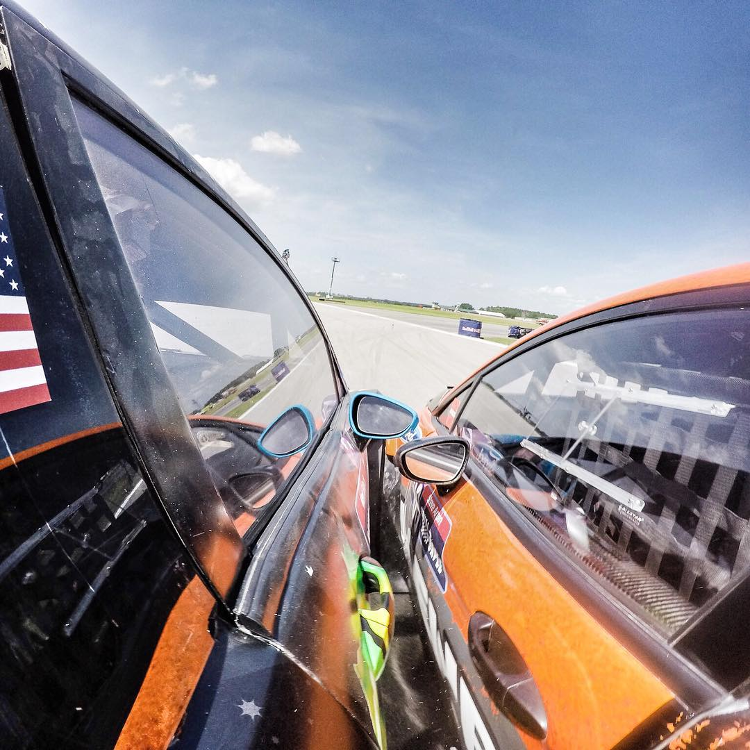 Just won my semi-final here at #GlobalRallycross round 4 in North Carolina! Great change of pace for after a rough second heat earlier today. I got into a good battle with my buddy Steve Arpin (seen here): he passed me on the inside of turn 1, then I...