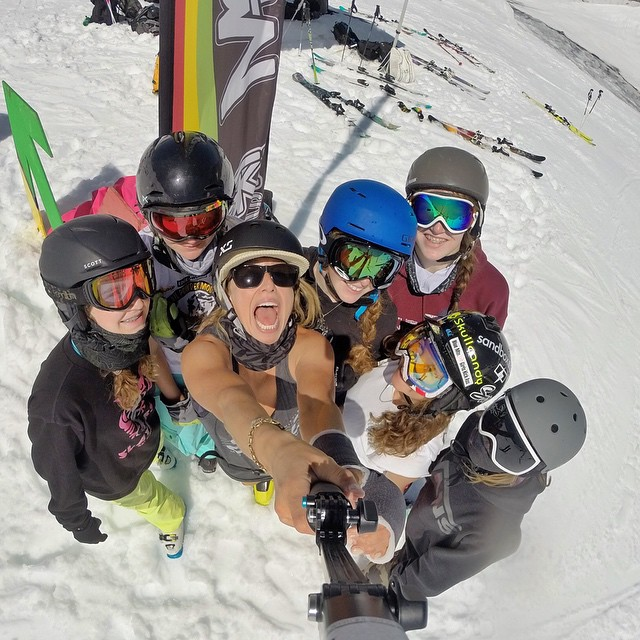 @anna_segal, rocking the new matte black Skate Helmet, is stoked to be coaching at @momentumskicamps for Girls Week. #xshelmets #girlswhoshred #summer #skiing #girlsweek #blackcomb #glacier #freeski