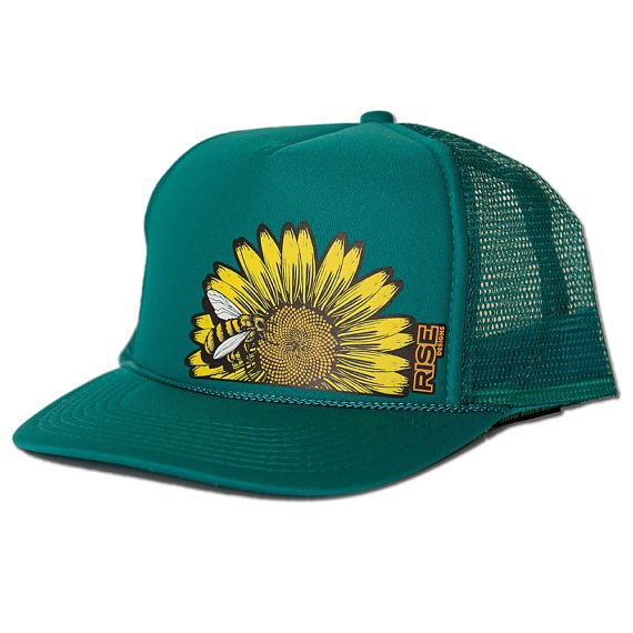 Added a new color way for our Sunflower hat. Check it out on our etsy store or come by our shop in Meyers. #risedesigns #sunflower #honeybee #truckerhat #jade