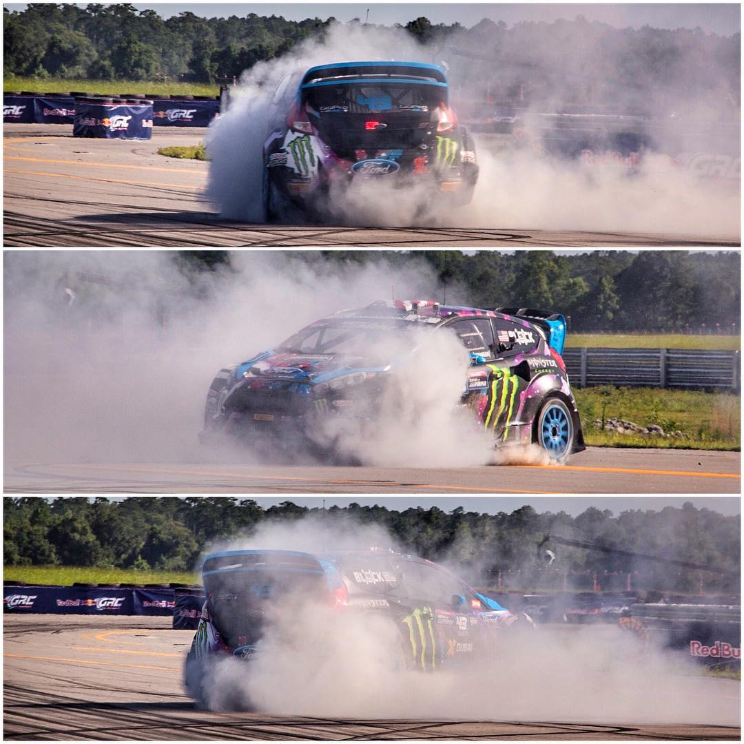 Step 1: win rallycross race. Step 2: perform victory donuts. Step 3: repeat. #donutderelict #myfavoritekindofdonuts #racethebase