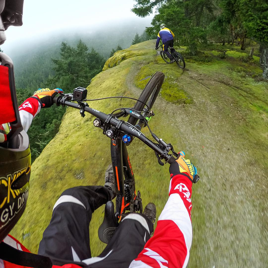 Photo of the Day! @kurtsorge and @geoffgulevich hit the trails in Vancouver with their #HERO4Session. #GoPro #MTB