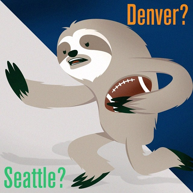 Happy super bowl (sloth) sunday!!! May your day be filled with nachos and hops. #saverainforest #slothsunday #superbowlsunday #cuipo Denver or Seattle?