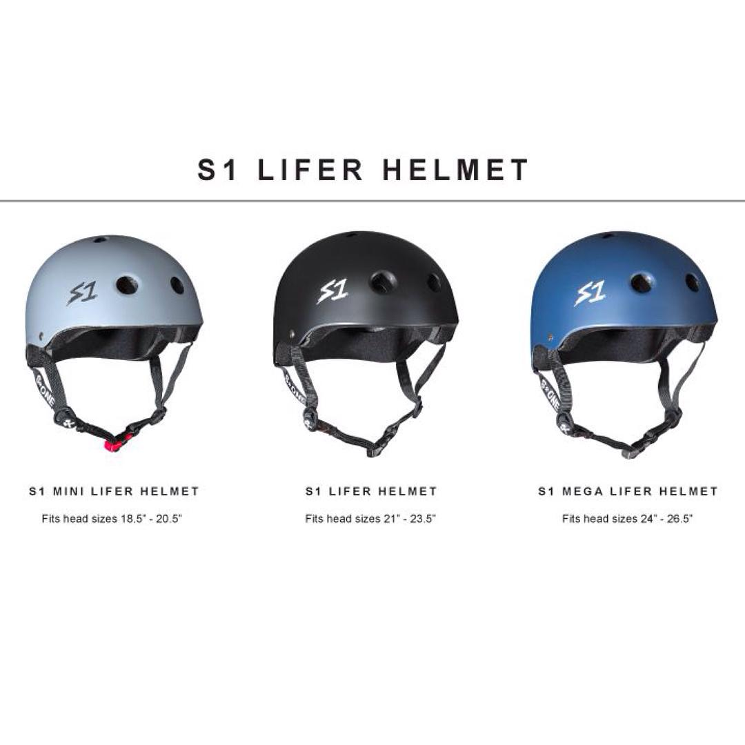 "S1 Lifer Helmets. Great Fit and fully certified to help protect your dome. Now available in 3 different shell sizes !!! S1 Mini Lifer Helmet fits smaller head sizes: 18.5"" - 20.5""  S1 Lifer Helmet fits average head sizes: 21"" - 23.5"" S1 Mega Lifer..."