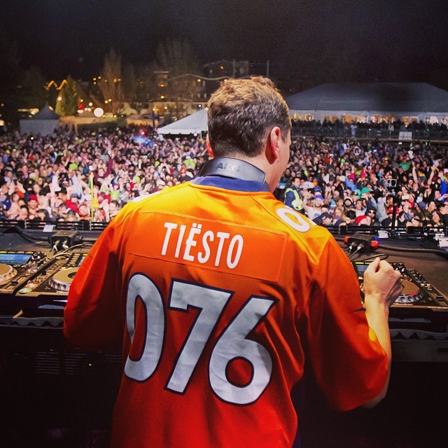 Broncos or Seahawks? @tiesto rocking his custom jersey last week at #xgames Aspen.