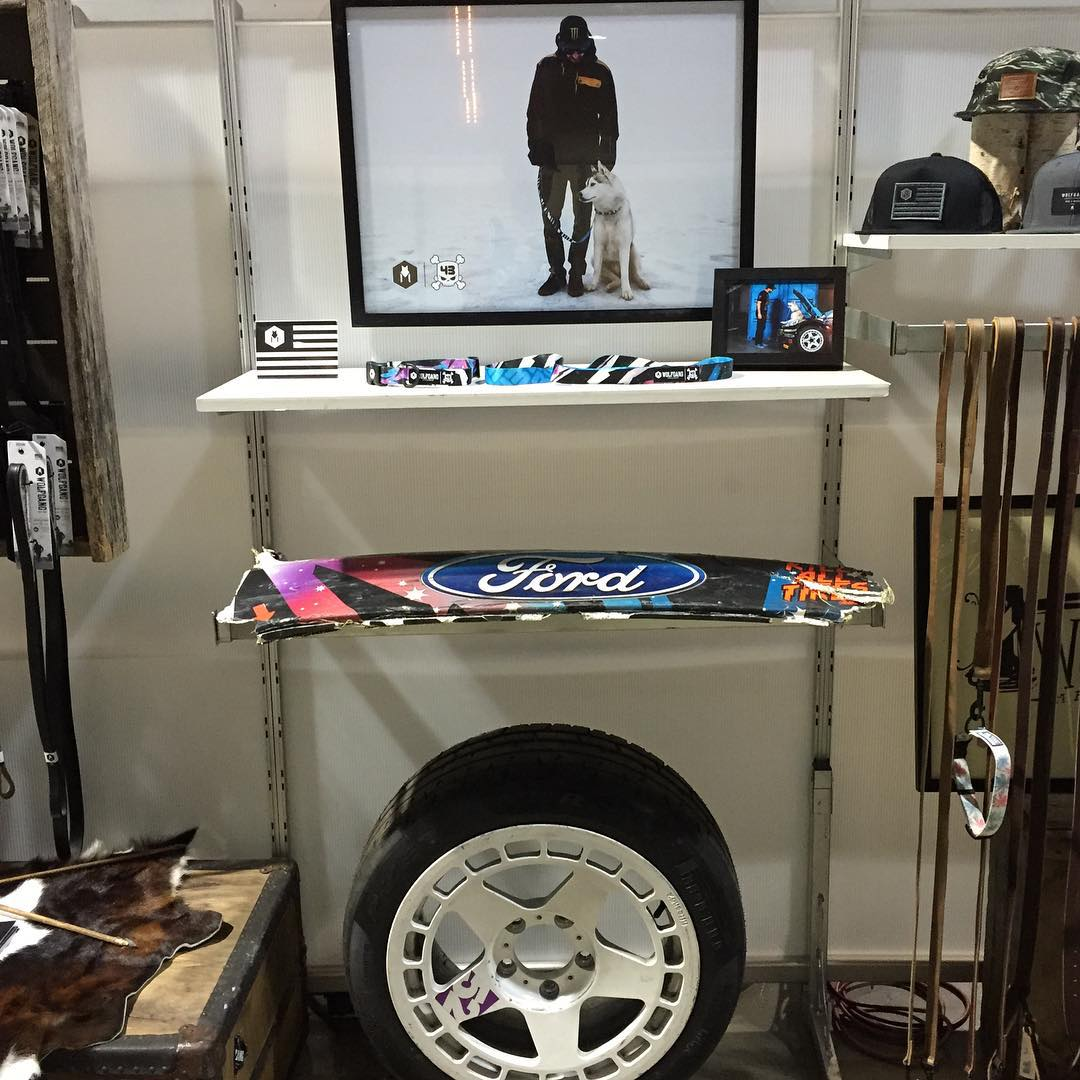 The guys at @wolfgangmanandbeast sent me a few shots from their booth at the Agenda show in Long Beach, CA this week. Check out the cool display of my livery on their collars and leashes, along with one of my @fifteen52 Turbomac rims with @Pirelli...