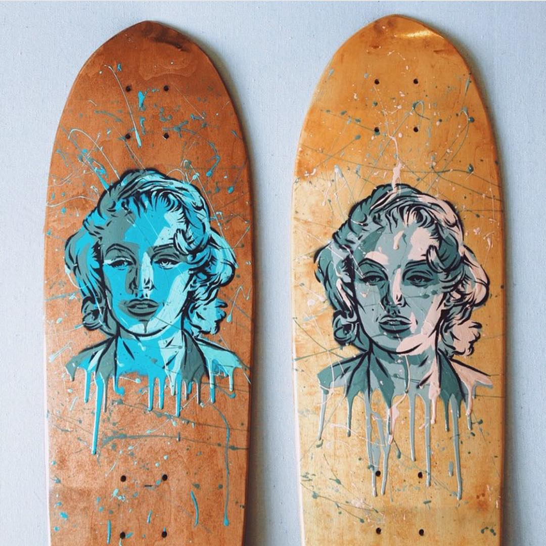 A couple campus cruisers painted up by good friend @brianwooden We are pretty stoked on these. #handmade #Nashville #handmadeskateboard #skateart