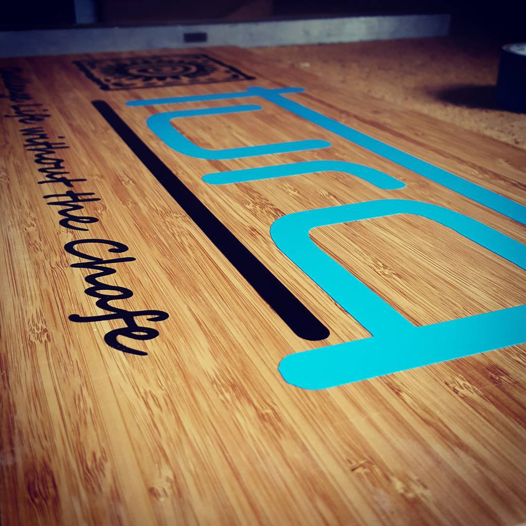 Custom bamboo brand sign for our lovely @turqsport ladies. More than just board racks.. #bamboo #surf #retail #surfshop #sup #paddleboard #skate #ski #snowboard #snow #summer #signage #custom #wakeboard #waterski #wakesurf
