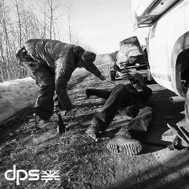 The great Alaskan magnet of destruction. Flat tire on the Alcan Highway, 2006. Photo: @oskar_enander.  #dpsroots #PowderRoad