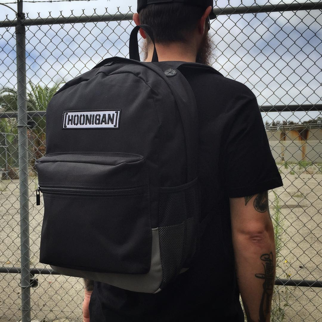 The Standard Issue Hoonigan Laptop Backpack available at @zumiez and to #hngnloyaltysquad only. It's rad, holds shit and has beefy-ass zippers. #wegotyourback