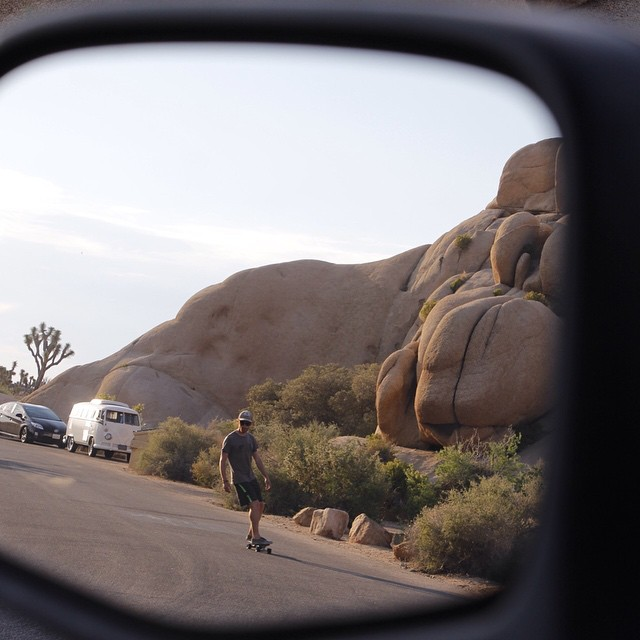 Caution...objects in mirror are enjoying life. @thesaltynomad passing through Joshua Tree on his Minnow.