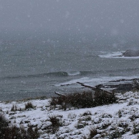 Las olas seguían mientras caía la nieve sin parar.