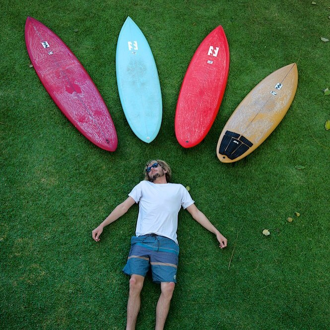 @tyler_warren contemplates which board for the job. Decisions, decisions... #lifesbetterinboardshorts #theBillabongdaily