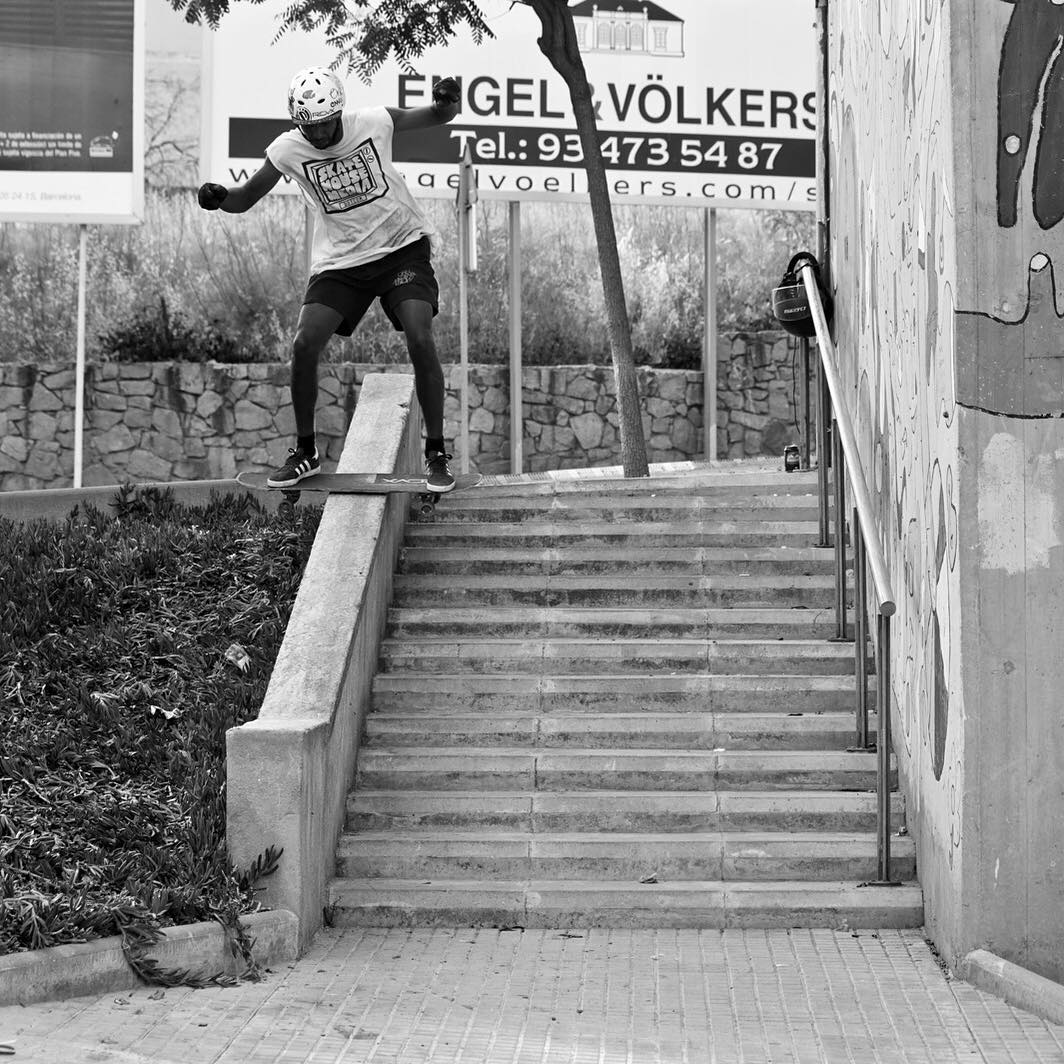 Team rider @agboton isn't afraid to take it to the streets with tricks like this stylish boardslide.