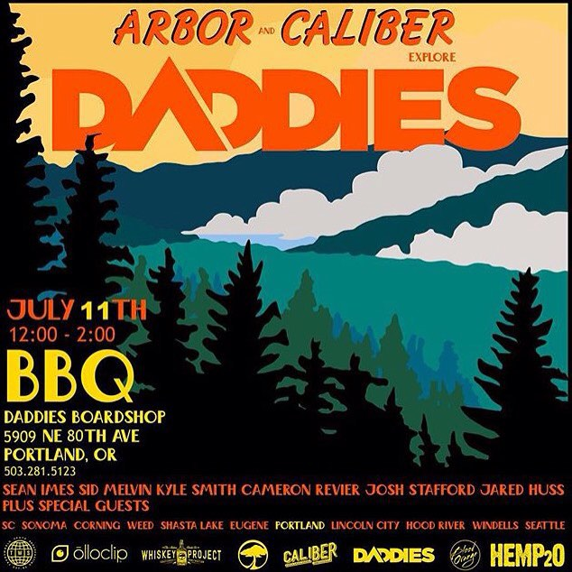 Meet us @daddiesboardshop to chill and BBQ! #SK8NORTH #olloclip #caliberstandards