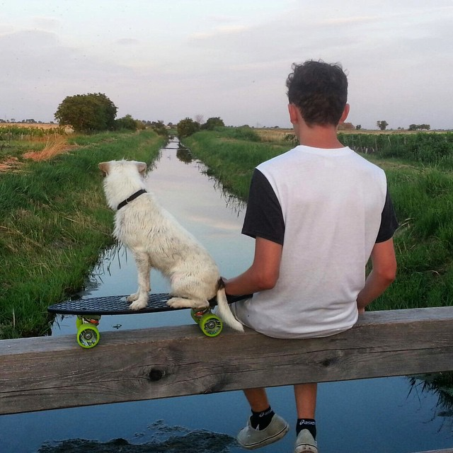 "A great Saturday with @eliasschmelzer. ""I just wanted to thank you for the awesome Minnow. I got it from the @saltwater.shop in Hamburg. Chilling with the Minnow and my dog after swimming. Greetings from Austria!"" #PushForTomorrow #NetsToDecks"
