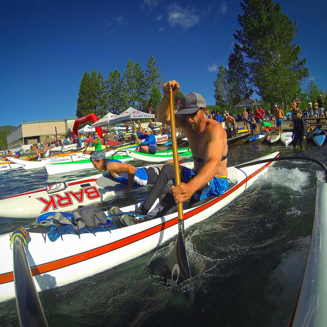 Such a fun morning at the annual @TahoeWaterman #JamFromTheDam2015!!! This was my 1st #OutriggerCanoe race, and the always mind-blowing @shawnakorgan was there to send me off (seen on the line in the background), and swam out to me when I flipped over...