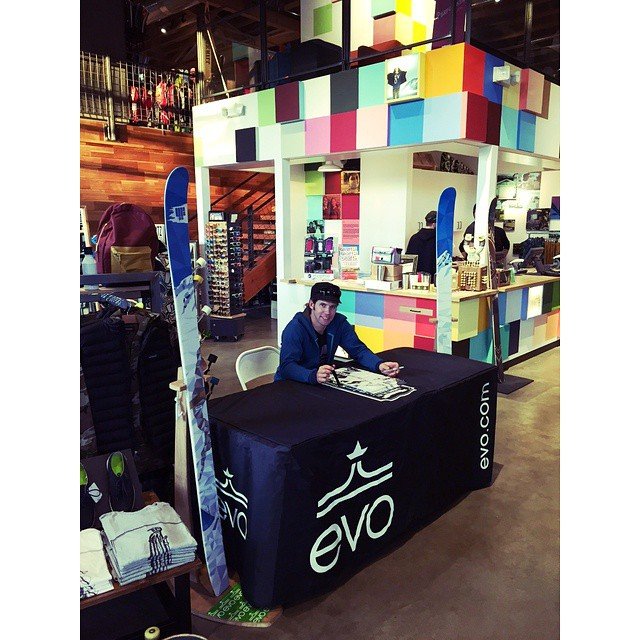 Lucky for us, there are shops like @evoseattle that make shopping really fun.  Demand 4FRNT at your local ski shop. @eric_hjorleifson poster signing before last years Elements premiere.