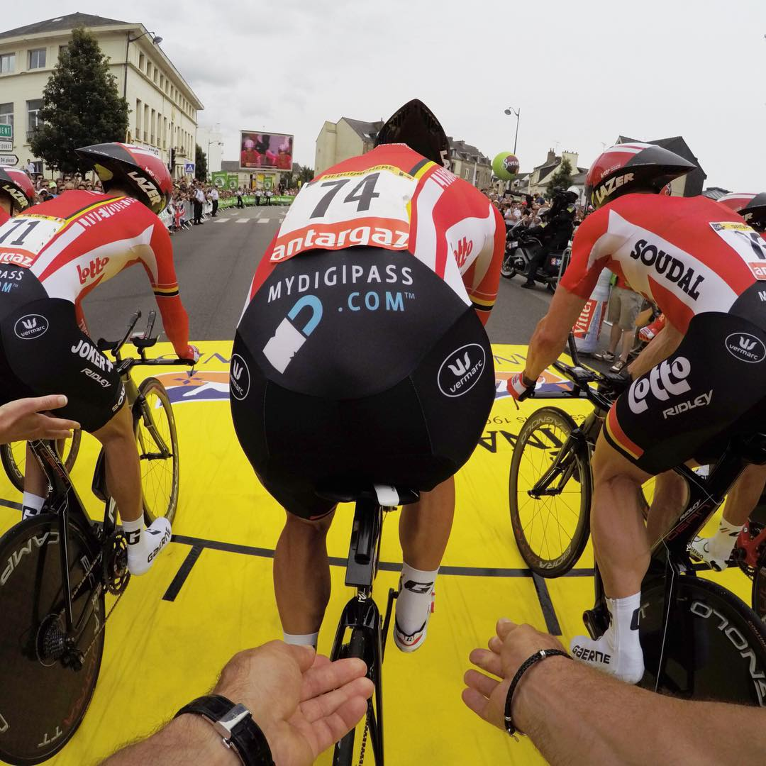 And they're off! Team @lotto_soudal is off for time trials @letourdefrance #TDF2015 #Tourdefrance #GoPro (Shot by GoPro Production Team member @kylecamerer)
