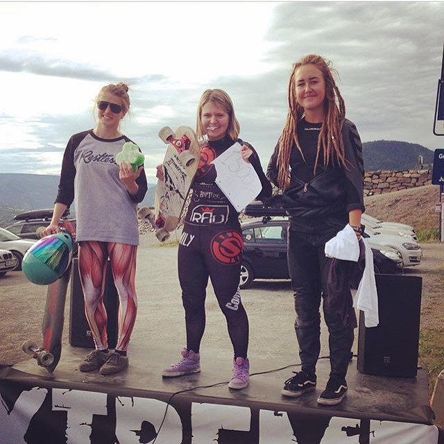 @idfracing's LilleHammer women's podium in Norway just now!  1. @emilylongboards  2. @cassandraduchesne  3. @lllinnandersson  Yeah ladies! Killing it at this fast and technical track! Repost from @lorenzadw.  #longboardgirlscrew #girlswhoshred...
