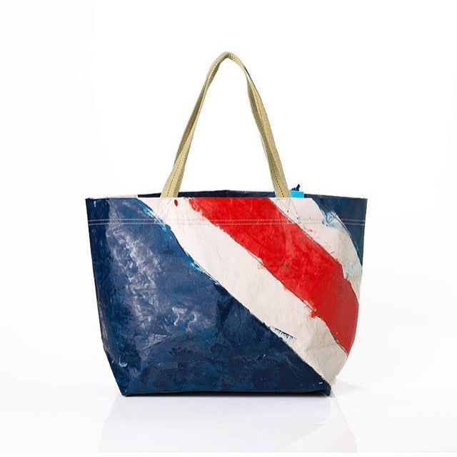 Another special #Sunday // #sanfrancisco. Hand painted sail used in the sailing World Cup. #fromsailstobags