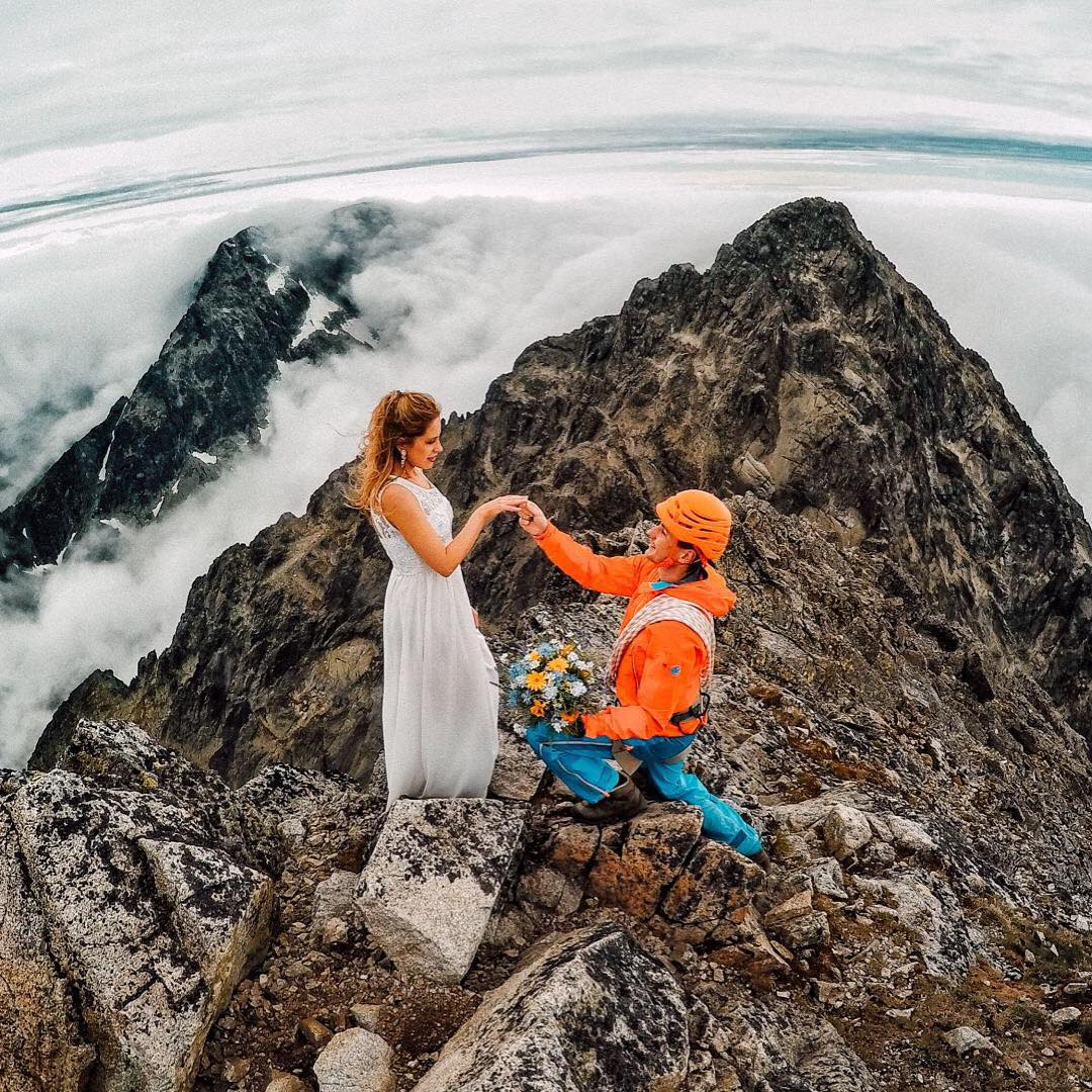 Photo of the Day! She said YES! @Peter.holly climbed to the top of Lomnický Peak in Slovakia to pop the question. Submit your best photos: g.gopro.com/submit